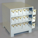 Microscope slide storage cabinet for stackable high density  storage